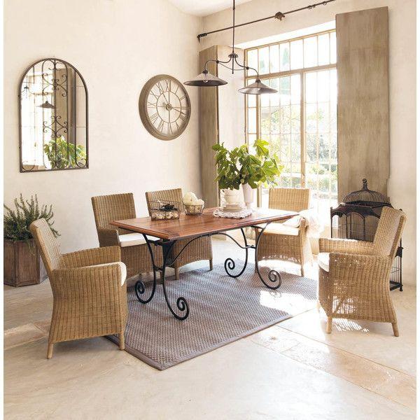Tavolo per sala da pranzo in legno e ferro battuto