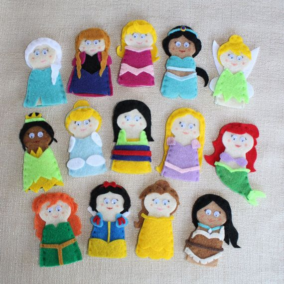 Princess Finger Puppets by IttyBittiesbyNat on Etsy