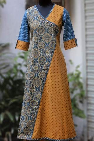 cross-over long kurta - ochre specks & the night lanterns – maati crafts