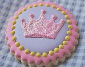 Sparkly Princess Crown Decorated Sugar Cookies (12)