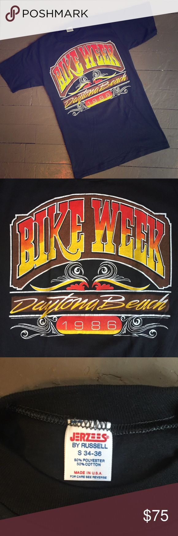 True Vintage Bike Week Daytona Beach t-shirt small 1986 Daytona Beach Bike Week Shirt. Harley-Davidson Dealer tee. Original Vintage, not a reproduction. Tight-fitting. Fits like a women's small. Excellent condition. Harley-Davidson Tops Tees - Short Sleeve