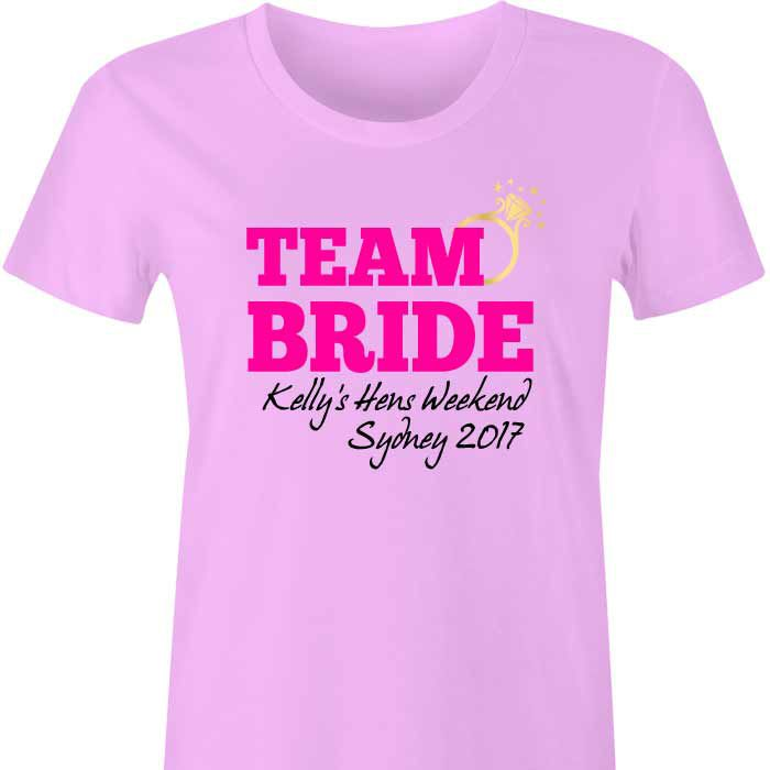 Team Bride Personalised TShirt with Ring A fun and fabulous t shirt for the girls to wear during at the Hens Party or weekend away!  Personalise with the Bride To Be's name, your choice o...