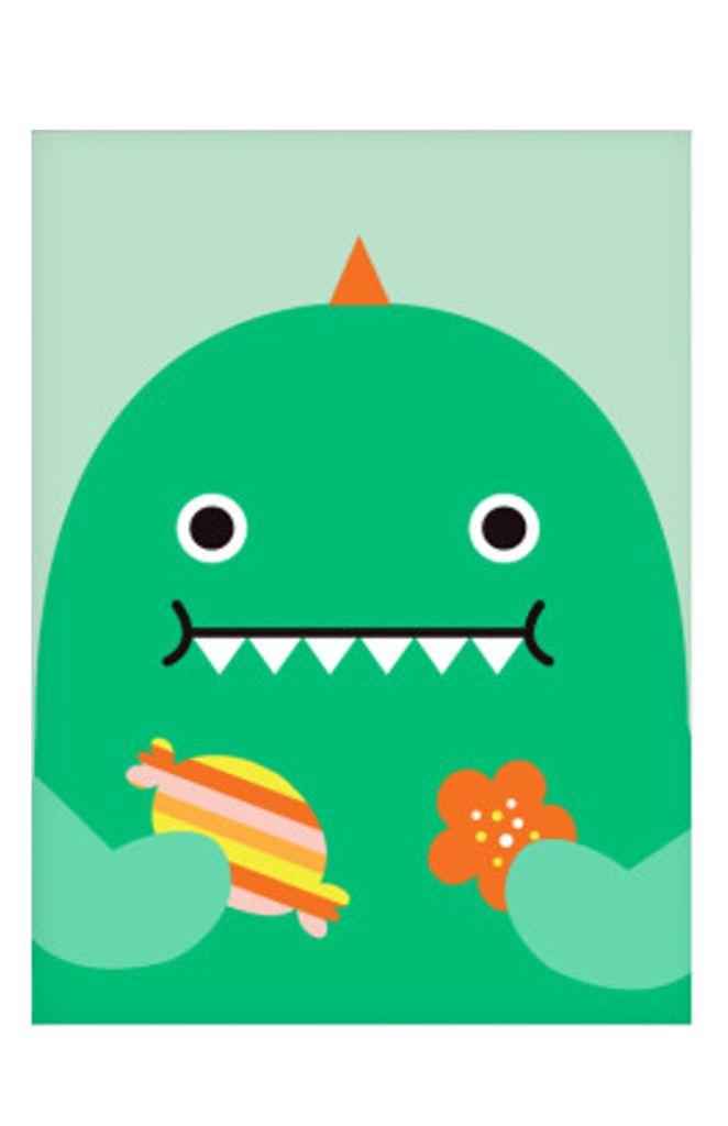 Noodoll Dino Nursery Print Green Dinosaur