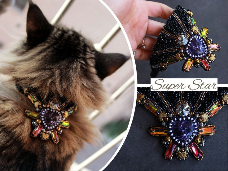 Cat collar, Embroidery for Pets, Dog Collar, Pet Accessories, adjustable collar, sparkle collar, Pet Neckwear, colorful cat necklace
