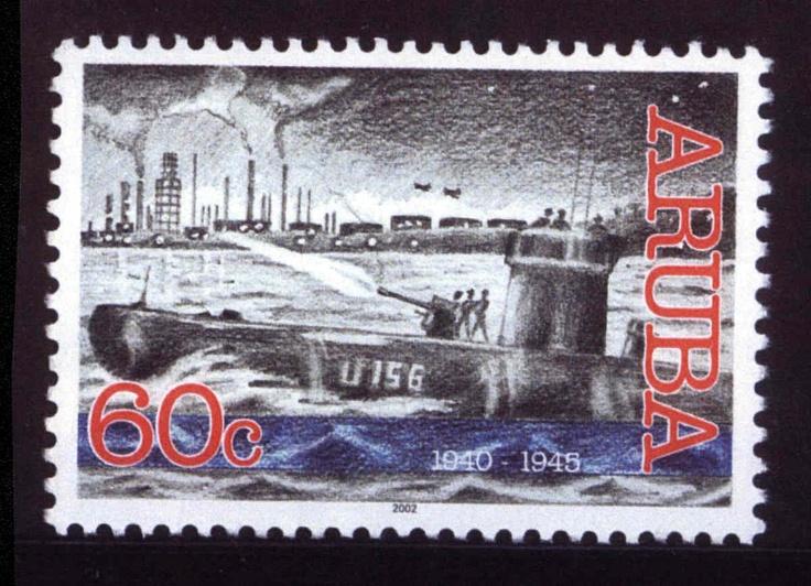 Large Aruba stamps - Lago Refinery under attack