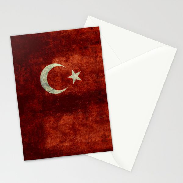The National flag of Turkey - Vintage version Stationery Cards by LonestarDesigns2020 - Flags Designs + | Society6