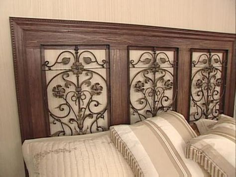 This is what I want to do for our room!! Create a custom headboard with lumber and wrought iron panels.