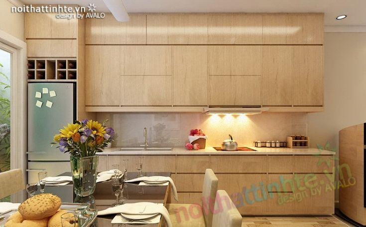 Không gian Bếp ăn hiện đại cho nhà lô phố .