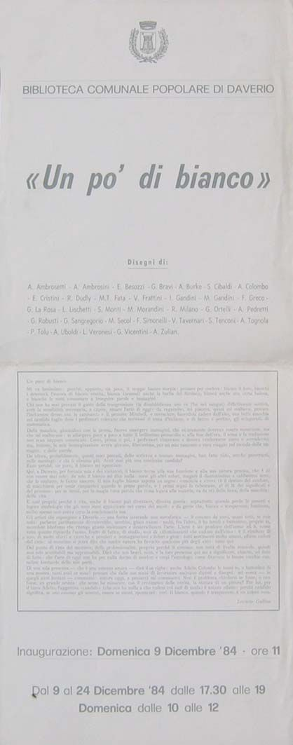 1984 manifesto Biblioteca Comunale, Daverio, un po' di bianco