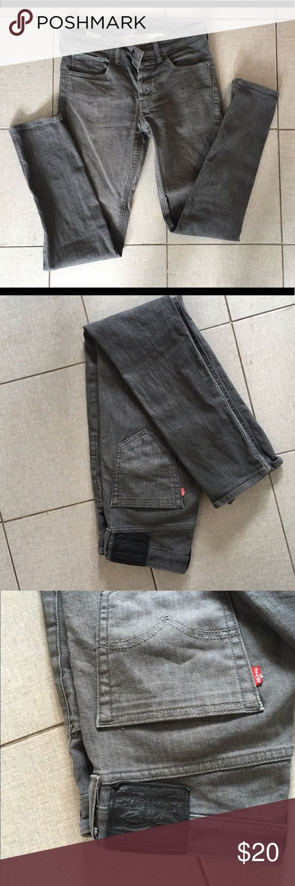 Levi's, 511 commuter gray skinny jeans Great shape Non smoking. 32 inch inseam. Good condition, non smoking, no imperfections Levi's Jeans Slim