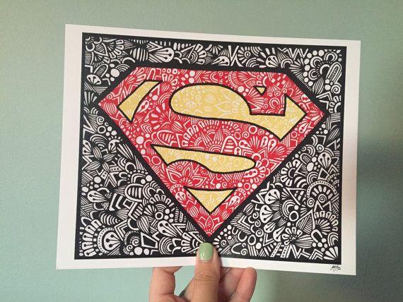 Zentangle Superman by ZenspireDesigns on Etsy
