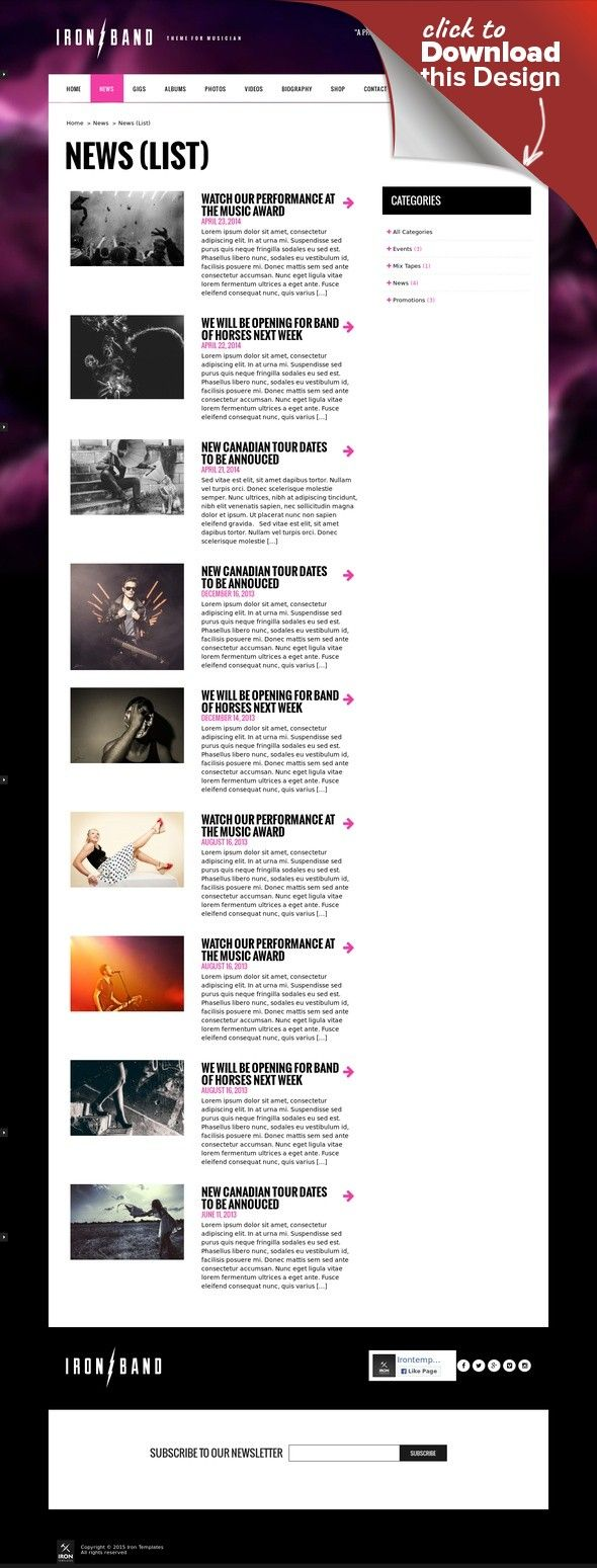 IronBand - Music Band & DJ WordPress Theme artist, band, dj, events, gig, html5, mp3, music, music band, musician, musicians, nightclub, responsive, rock, wordpress IronBand™ is the perfect WordPress theme for bands, musicians and DJs. Everything is in the details. The design is unique and comes with layered PSD. The theme includes all major features: Events & Gigs, HTML5 audio Player, YouTube Videos, News, Discography, Photos and Biog...