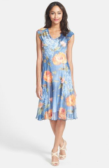 Komarov Cap Sleeve Floral Print Dress available at #Nordstrom