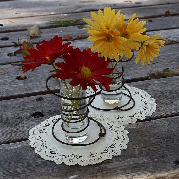 Handmade Rustic Vase Set with Rusty Bed Springs for Your Cabin, Cottage, Shabby Chic, Country, Rustic, Farmhouse or Ranch Decor