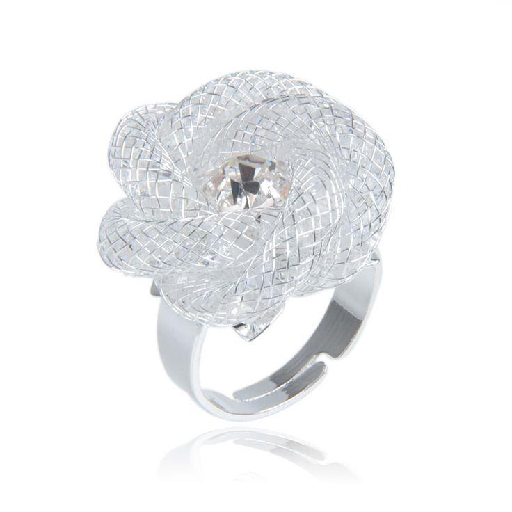 Новый стиль цветочным узором Сетки Кристалл Кольцо с Прозрачного Хрусталя Кольцо для женщин палец кольцо