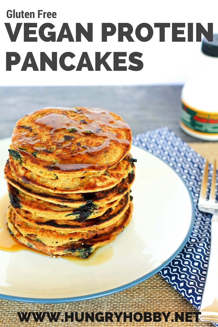 Gluten Free Vegan Protein Pancakes are a healthier no refined flour stack of pancakes! Thick yet fluffy pancakes bursting with sweet wild blueberries, you'd never know they are packed with 7grams of fiber and 30grams of protein per serving!