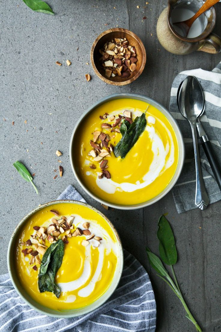 Butternut Squash, Coconut & Turmeric Soup + Crispy Sage