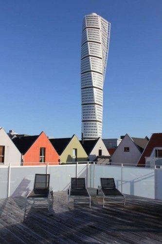 Turning Torso in Malmö, Sweden as seen from Västra Hamnen (West Harbor). The area was developed with some very interesting architecture in 2001.