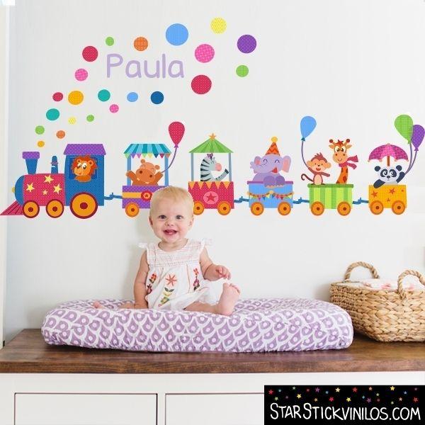 Tren con animales y confeti - Vinilos Infantiles. Train Kids Room Wall Decals