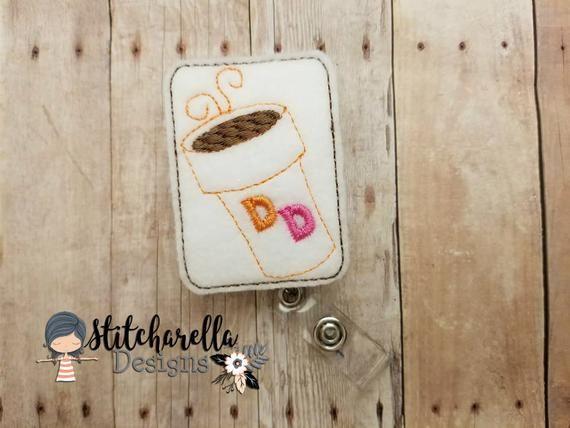 Donut Coffee Interchangeable Badge Reel Nurse Badge Reel Id