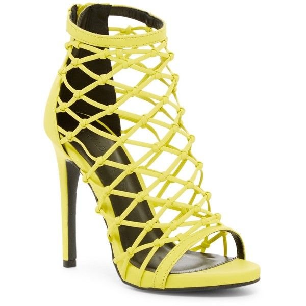 Wild Diva Lounge Evelyn Caged Stiletto Sandal (105 BRL) ❤ liked on Polyvore featuring shoes, sandals, heels, neon yellow, caged heel sandals, strappy stiletto sandals, stiletto heel sandals, neon yellow sandals and high heel stilettos
