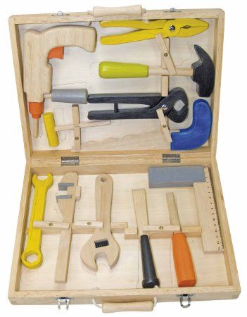 Caisse à outils complète en bois pour enfant avec 12 éléments