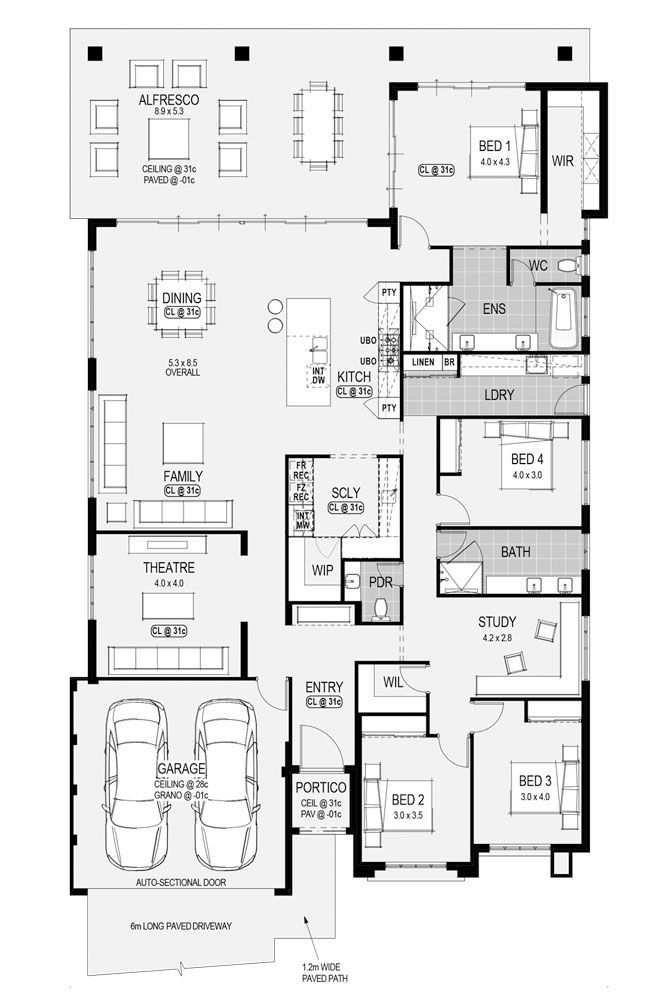 My favorite plan. - window in WIR -WIR in all bedrooms - bath out of ensuit into main bathroom - study and bedroom 2 change positions