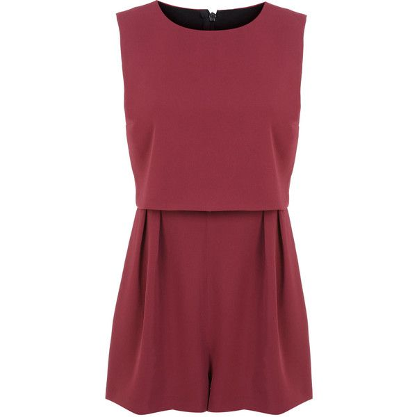 Miss Selfridge Petites Burgundy Romper ($35) ❤ liked on Polyvore featuring jumpsuits, rompers, dresses, jumpsuit, playsuits, vestidos, burgundy, petite, jump suit e red rompers