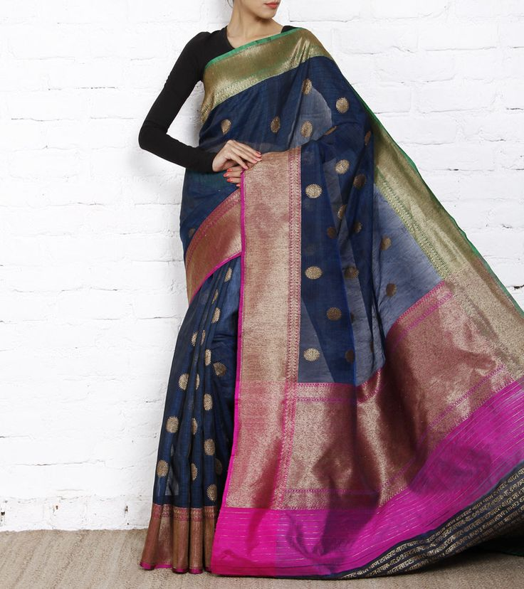 Blue Handloom Kora Organza Saree with Zari