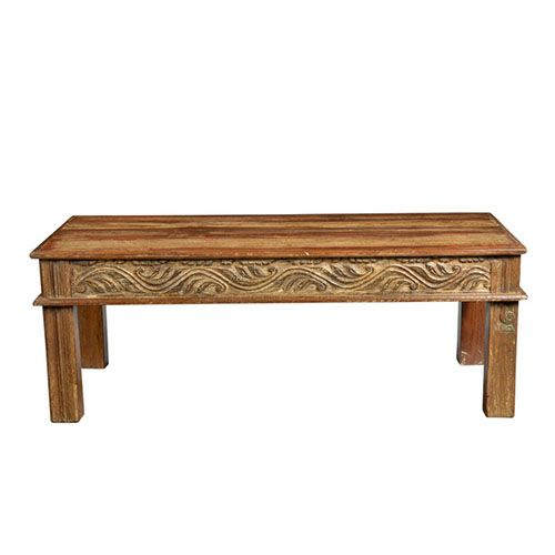 This Exotic Low Profile Coffee Table Has Hand Carved Trim Along The Edges.