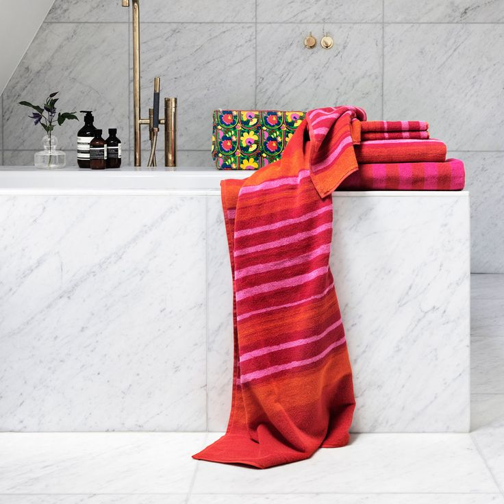 These Marimekko Bath Towels are as lovely to look at as they are to wash up and…