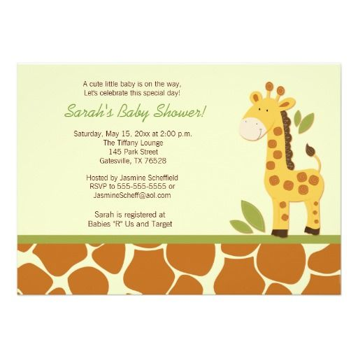 Giraffe Adventure 5x7 Baby Shower Invitation | Adventure ...