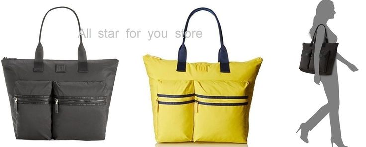 Tommy Hilfiger Womens Active Nylon Extra Large Tote Bag Black Or Yellow