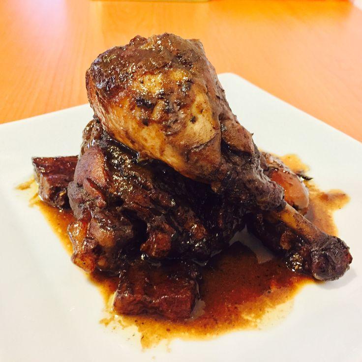 Pollo guisado con melagre
