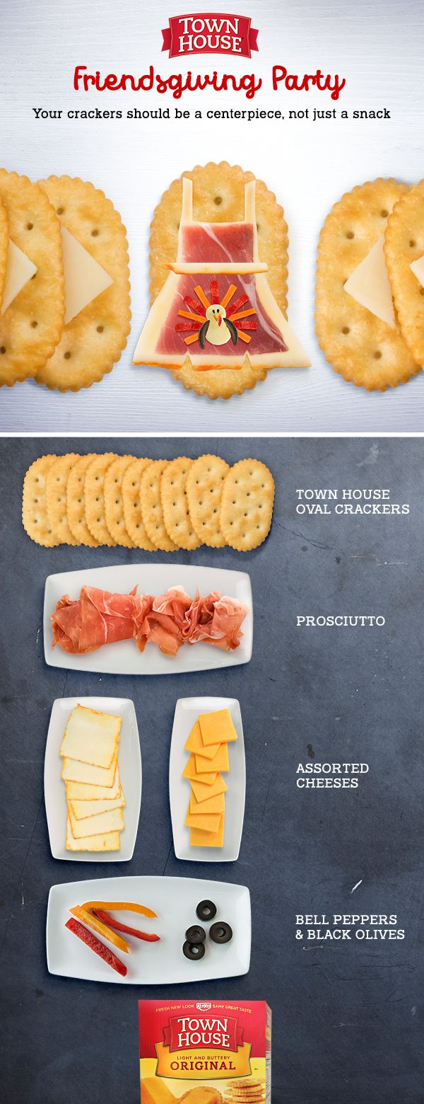 Whether you're hosting the #Friendsgiving #Potluck or need something tasty and creative to bring, crisp and buttery Town House oval crackers make a perfect festive centerpiece!