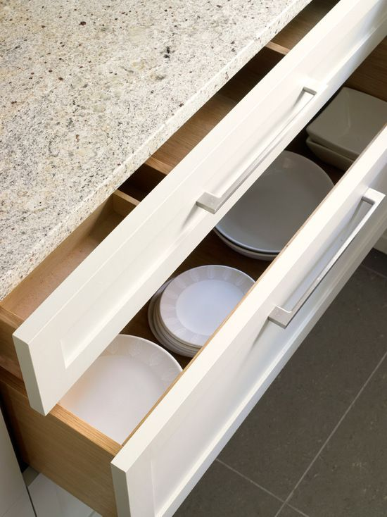 Wide and deep kitchen storage drawers for contemporary shaker style kitchen design in Wimbledon.