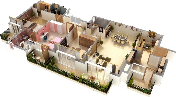 Home design plans 3d paint for How to design 3d house plans