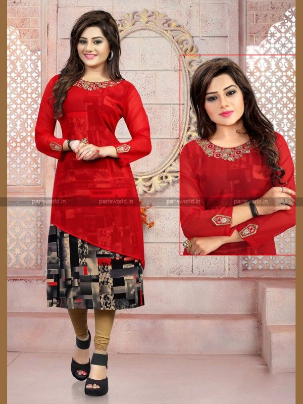 Red N Black Georgette Trendy Designer Kurti