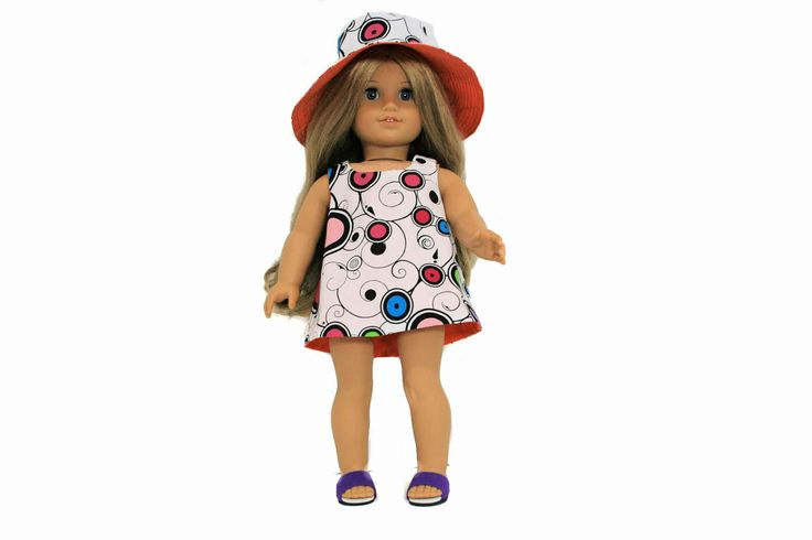 Pop Art Reversible Hat and Dress for 18 Inch Dolls such as American Girl, Our Generation, Madam Alexander by PiperRoseBoutique on Etsy