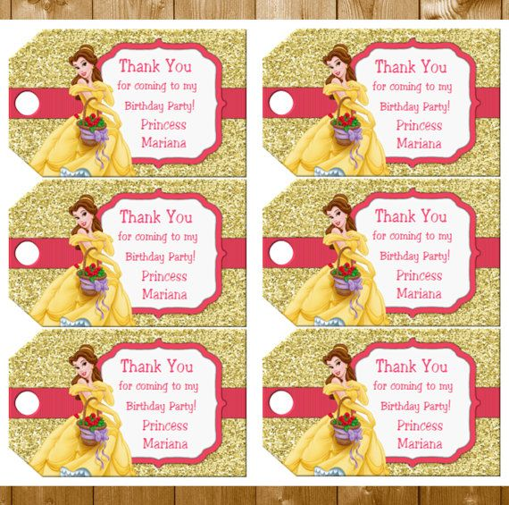 Belle Favor Tags Belle Birthday Party Favor Tags Disney Beauty and the Beast Favor Tags Instant Download