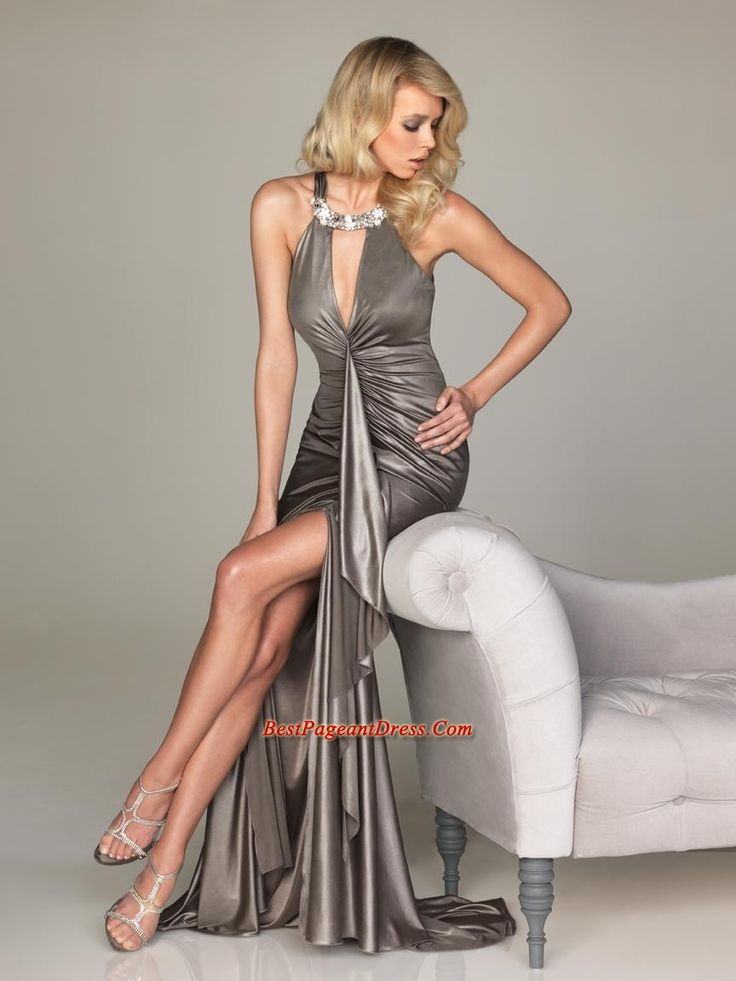 Allure Pageant Dresses,2012 Sexy Column Halter Top Neck Brush Allure Prom Dresses Style A482