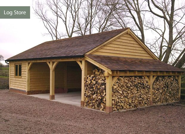 Garage log store garden pinterest gardens wood for Side of the house storage shed