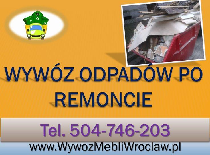 Wynoszenie gruzu z mieszkania, wywóz resztek materiałów budowlanych, starych farb, palety. Demontujemy stare meble, parkiet, boazerie z wyniesieniem i wywiezieniem. Wrocław, tel 504-746-203,