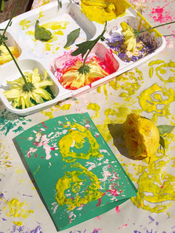Printing with Flowers - process art for kids