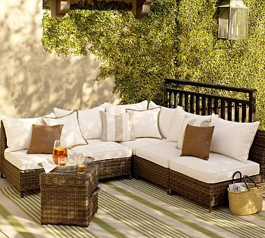 Build Your Own Torrey All Weather Wicker Square Arm Sectional Components Espresso Popular