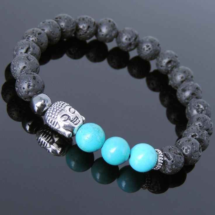 Enhanced Turquoise Lava Rock & Hematite Healing Gemstone Bracelet with Tibetan Silver Sakyamuni Buddha & Spacers - Handmade by Gem & Silver TSB202