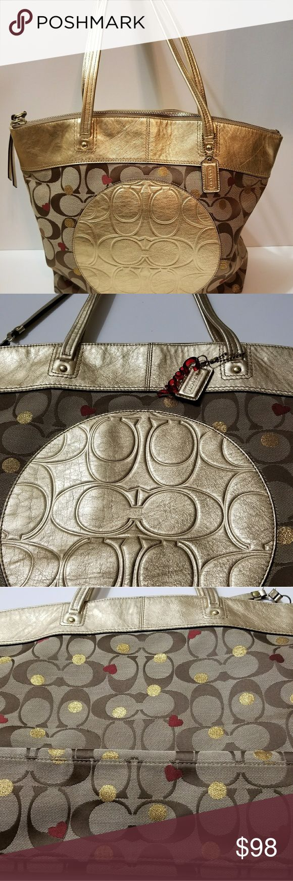 Coach Laura Secret Admirer Tote Coach  Laura Secret Admirer Tote Khaki/ Gold Coach Bags Totes