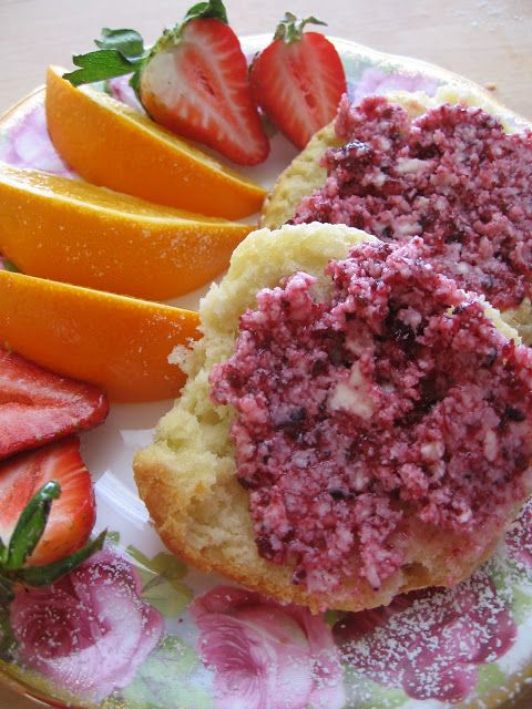 sweetsugarbean: For Your Sunday Brunch: Buttermilk Scones With Saskatoon Berry Butter