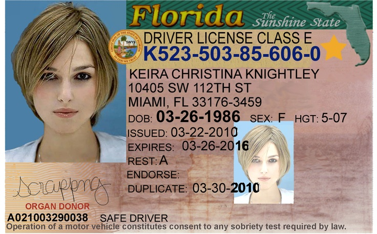 Florida Driver S License Editable Psd Template Download