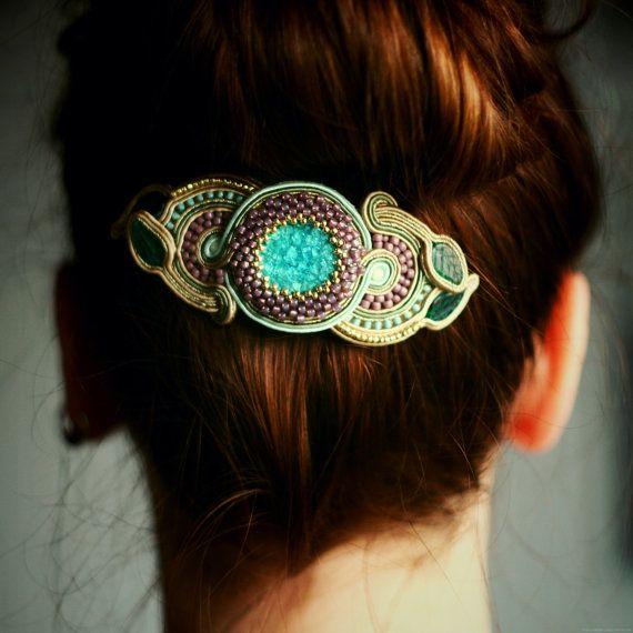 unique soutache hair clip / soutache jewelry / colorful accessories by agtesa